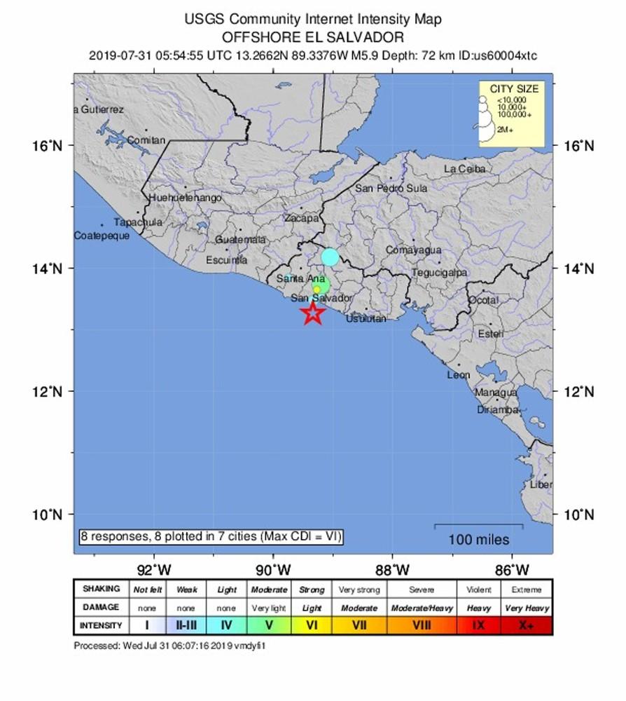 El Salvador'da 5.9 büyüklüğünde deprem