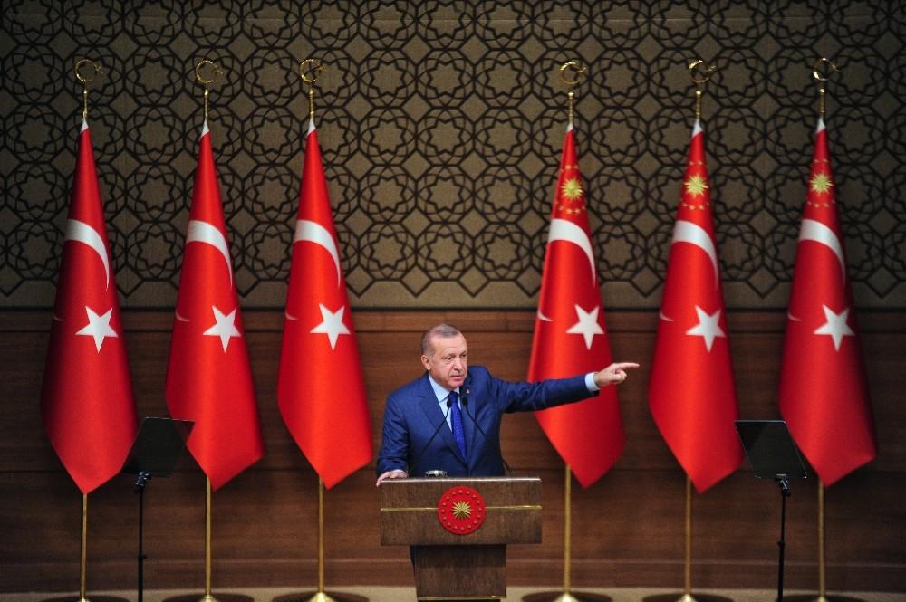 """Cumhurbaşkanı Erdoğan: """"Barış Pınarı Harekatı ile tam manasıyla takke düşmüş kel görünmüştür"""""""