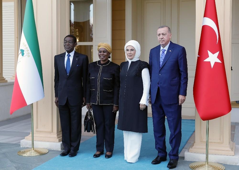 Cumhurbaşkanı Erdoğan, Ekvator Ginesi Cumhurbaşkanı Mbasogo'yu kabul etti
